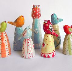 Little Red Polka Dot Owl van joyelizabethceramics op Etsy