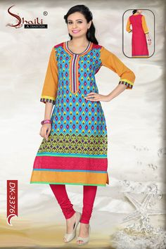 Effervescent Elegance Printed #Indian #Designer #Kurti by SnehalCreation.com So many colours woven beautifully into one piece of clothing can be a rare find for any woman with a personality to match. However, let this tasteful printed Indian Designer kurti from Snehal Creations be a must on your shopping list this month. This tunic comes in an effortless round neck with an elongated gala-patti that travels downwards. AVAILABLE IN DIFFERENT COLORS.