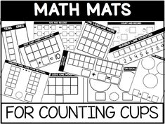Free math mats for use with counting cups in your classroom. Engaging, hands-on and inexpensive skills practice. Differentiated Kindergarten, Preschool Math, Math Activities, Differentiated Instruction, Educational Activities, Math Games, Math Stations, Math Centers, 1st Grade Math