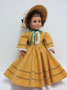 Golden Victorian High Fashion 1800's Dress and Bonnet for Marie Grace by karenstinytreasures via Etsy $59.00