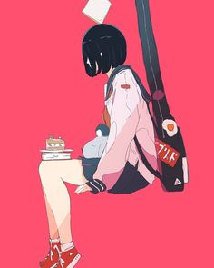 No matter what, don't stop playing with your music. Music Drawings, Art Drawings, Anime Art Girl, Manga Art, Aesthetic Art, Aesthetic Anime, Arte Peculiar, Character Art, Character Design