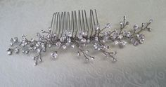 Rhinestone branches hair comb made by One World Designs Bridal Jewelry, OWDJewelry.etsy.com