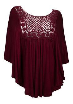 a3c2ae357f17e Plus Size Crochet Bodice Poncho Top Burgundy Photo 1 Poncho Tops