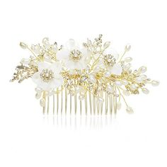 SWEETV Stunning Pearl Bridal Hair Comb Clip Light Gold Handmade Pageant Prom Wedding Headpiece ** You can get more details by clicking on the image.(This is an Amazon affiliate link and I receive a commission for the sales)