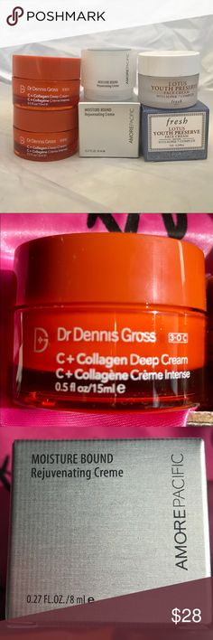 Three Deluxe Sample Moisturizers Dr. Dennis Gross C+ Collagen Deep Cream (.5 oz).   Amore Pacific Moisture Bound Rejuvenating Cream (.27 oz).  Fresh Lotus Youth Preserve Face Cream (.24 oz)   Total Value $47.50.  All new in packaging, deluxe trial sizes, unused of course. Makeup