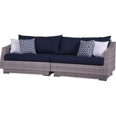 2-Piece Cannes Patio Sofa Set in Navy  at Joss and Main