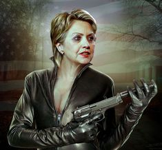 caricature of Clinton Hillary as Assassin (via Ultimate Collection of 25 Funniest Celebrity Caricatures by FunnyNeel.com / www.pinterest.com/webneel/funny-neel-com)