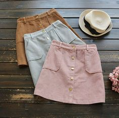 3 colors--front Single-breasted was thin pocket corduroy solid skirt mori girl autumn