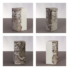 """Soy Candle and Concrete. Diamond-Shaped.   This candle with a slightly roughed concrete surface that allows wax to seep into the cracks.  Each candle is individually hand-made and using a unique method that is currently """"Patent Pending""""."""