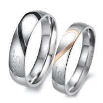 Wedding Bands JEULIA Heart Shaped Promise Ring For Couple Titanium Steel - Buy Two Tone Heart Titanium Steel Couple Rings online. Jeulia offers premium quality jewelry at affordable price, shop now! Heart Promise Rings, Promise Rings For Couples, Couple Rings, Rings For Men, Heart Rings, Promise Band, Couple Jewelry, Stainless Steel Wedding Bands, Stainless Steel Rings