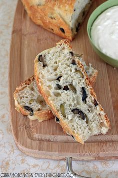 No-Knead Olive Bread with Whipped Feta Cream Cheese