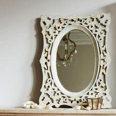 Ashington Square Carved Framed Mirror In Antique Grey   Graham & Green
