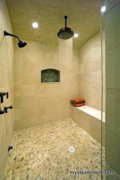 Steam Showers This is a nicely built steam shower. The floor is made from travertine designed to look like river rock tile, and the walls are built from a variety of noche dark travertine tiles,...