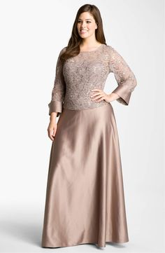 JS Collections Lace & Satin Illusion Bodice Gown (Plus) available at Nordstrom Hijab Evening Dress, Evening Dresses, Blouse Dress, Diy Dress, Gold Party Dress, Dress Pesta, Wedding Bridesmaid Dresses, Lace Design, Plus Size Dresses