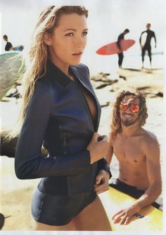 Ruby Rose would never wear a leather, long-sleeved swim suit, or enjoy being gawked at by an unshaven stoner surfer dude. But Blake Lively is a fair representation of how I see Ruby Rose and the beach scene is cool.