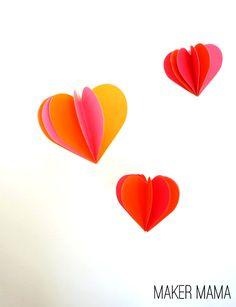 Enfeite de Coração de Papel 3D