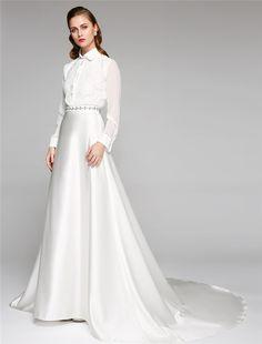 Chiffon Satin Shirtwaist Wedding Gown with Floral Lace Applique & Rhinestone Detail