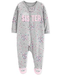 Carters Carter Baby Girls Sister Cotton Footed Pajamas - Eleanor Baby Name - Ideas of Eleanor Baby Name - Carter's Baby Girls Sister Cotton Footed Pajamas Gray 9 months Baby Girl Pajamas, Carters Baby Girl, Baby Boy, Toddler Outfits, Kids Outfits, Baby Outfits, Fancy Dress For Kids, Zip Ups, Girl Fashion
