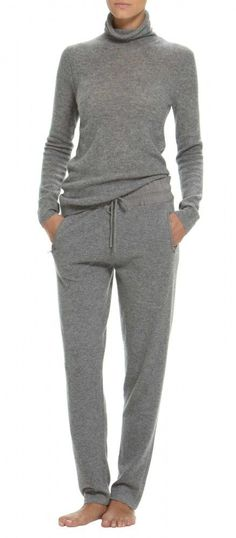 Cashmere sweatpants. Winter lounge wear.