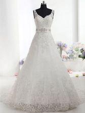 V-neck Lace Wedding Dresss A line Chapel Train Bridal Gown Custom New Size