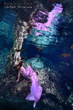 Underwater light in a cenote - Mexico