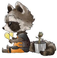 artwork fan art gotg groot rocket raccoon ovopack •