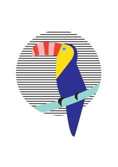 striped Toucan Art Print Digital illustration by HelloPants