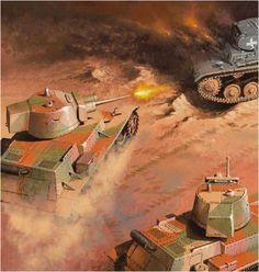 7TP tanque ligero polaco enfrentandose a un Panzer II durante la Batalla de Bzura en septiembre de 1939. Arkadiuz Wróbel. http://www.elgrancapitan.org/foro/viewtopic.php?f=12&t=17519&start=11550#p902034