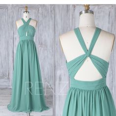 Bridesmaid Dress Dusty Green Chiffon Wedding Dress,Criss Cross Halter Strap Back Maxi Dress,Ruched Bodice A Line Long Evening Dress(L333) by RenzRags on Etsy https://www.etsy.com/listing/526885636/bridesmaid-dress-dusty-green-chiffon