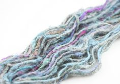 "Reclaimed and Recycled Silk and Polyester Blend Yarn: ""Chunky Monkey"": Aqua and Light Purple from DGy"