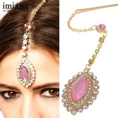 Hair & Head Jewelry Jewelry & Watches Capable Red Beige Gold Indian Bollywood Head Piece Chain Tika Tikka Bindi Jewellery New