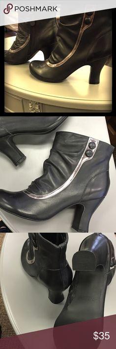 Mojo Moxy Hensley zip up heeled boots NIB Mojo Moxy. Black and silver heeled boots. Steam Punk/ Romantic. Inner zip. Rubber anti slip tread. Box included Mojo Moxy Shoes Heeled Boots