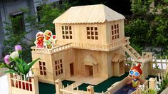 How to Make Popsicle Stick House - Popsicle Garden Villa - DIY Fairy House Arts and Crafts What are 'arts & crafts'? Frequently, the phrase 'arts & crafts' Ice Lolly Stick Crafts, Ice Cream Stick Craft, Craft Stick Crafts, Popsicle Stick Crafts House, Popsicle Sticks, Lollipop Sticks, Home Crafts, Diy Crafts, Garden Crafts