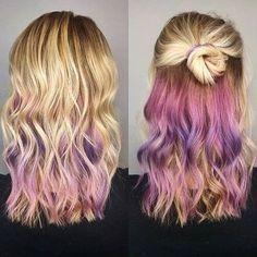 Hair Color Dark, Cool Hair Color, Blonde Hair With Color, Peekaboo Hair Colors, Pink Peekaboo Highlights, Cotton Candy Hair, Underlights Hair, Brown Blonde Hair, Gray Hair