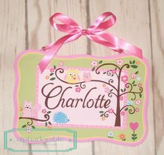 Custom Happi tree artisan hand painted wooden personalized name plate by Alphadorable, $40.00