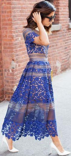 White Pumps + Blue Sheer Lace Midi Dress Source