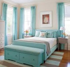 Light Bluish and white room. Perfect for tween/teen girls.