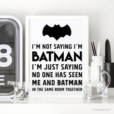 I'm not saying I'm Batman, I'm just saying no one has seen me and Batman in the same room together. Super fun Batman typography wall art for a boy's room or as art signage for a Batman-themed birthd Batman Wall Art, Batman Painting, Batman Artwork, Lego Batman Birthday, Batman Party, Superhero Party, Happy Birthday Typography, Batman Gifts, Batman Poster