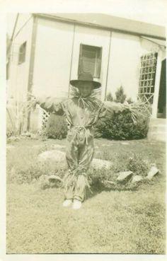 Scarecrow Adorable Boy in Halloween Costume 1940's
