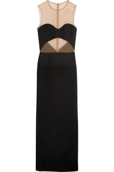 Michael Kors Collection | Stretch mesh-paneled crepe gown | NET-A-PORTER.COM