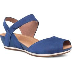Dansko Women's Vera Blue Milled Nubuck Leather Sandals ($140) ❤ liked on Polyvore featuring shoes, sandals, blue, wedge heel sandals, wedge heel shoes, two tone shoes, mid heel shoes and mid heel wedge sandals