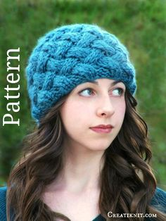 Knitting Pattern - Knit Hat Knitting Pattern PDF - Basket Weave Hat Womens Beanie Knit Pattern Winter Accessories Fashion