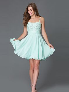 A-Line/Princess Sleeveless Spaghetti Straps Chiffon Beading Short/Mini Dresses