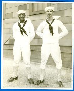 Vintage Military Photo - 2 Afro-American Sailors Decked Out In USN Uniforms