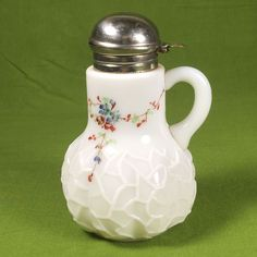 Vintage hand painted milk glass syrup pitcher - Dithridge Alba spider honeycomb US $79.99