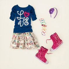 girl - outfits - skirt savvy - true blue tiers | Children's Clothing | Kids Clothes | The Children's Place