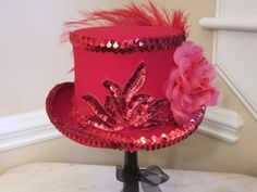 Red Top Hat Stevie Nicks Inspired  Red Sequins by MoonbeamEmporium