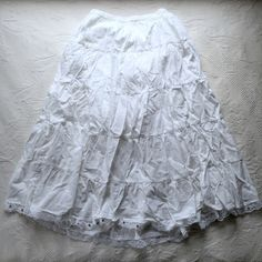 White Skirt White long skirt. Lace with sequins at the bottom. Worn once. Metro Wear Skirts Maxi
