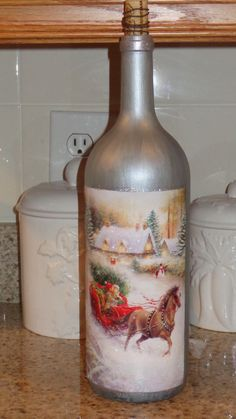 1.5 Lt  Wine Bottle Lamp Silver Frosted Bottle,  Horse/Sleigh/Winter Scene #24 #StoneCellars