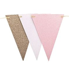 Pink and Gold Banner free printable. Print for a baby shower, bridal shower, first birthday party, and more. It is so easy to make just print, cut and hang.